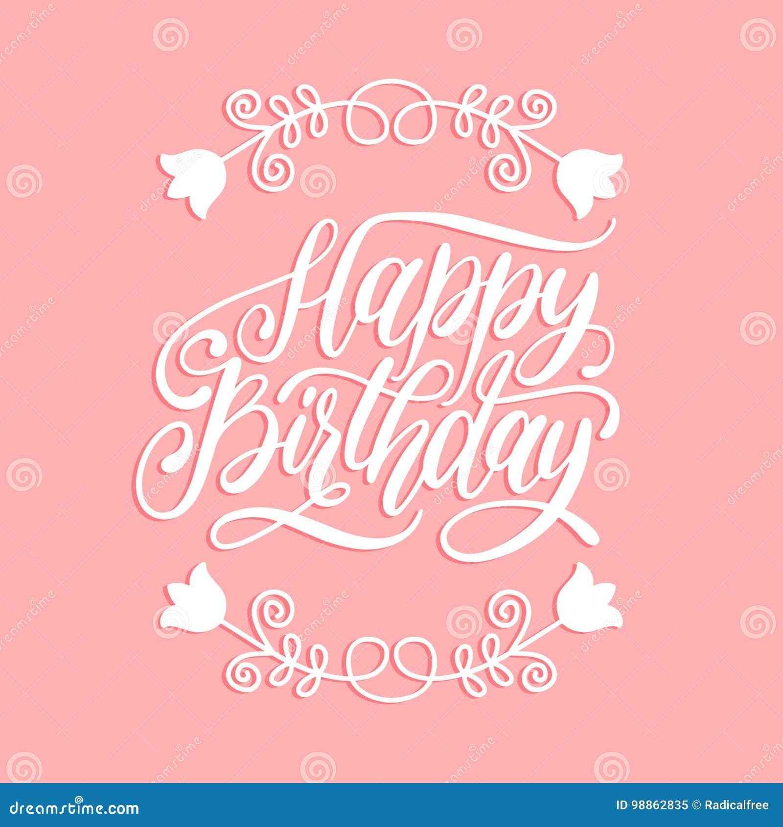 Happy Birthday Greeting Card Hand Lettering Vector Illustration