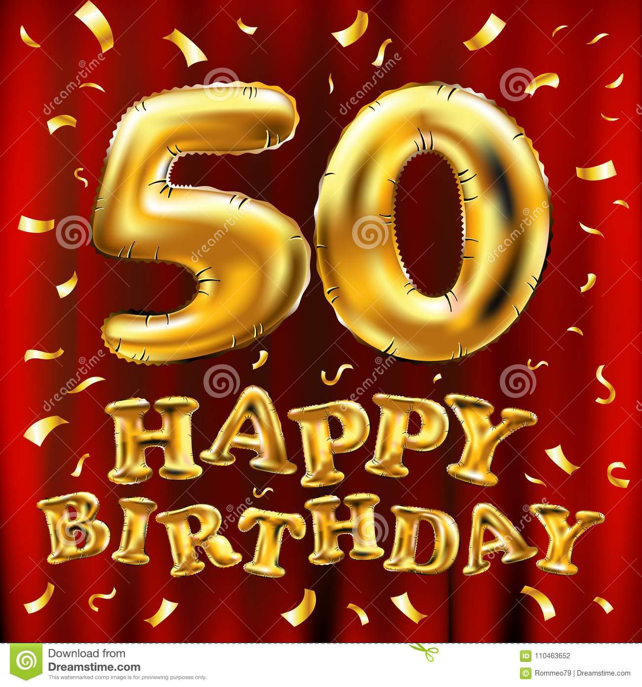 Vector Happy Birthday 50th Celebration Gold Balloons And Golden