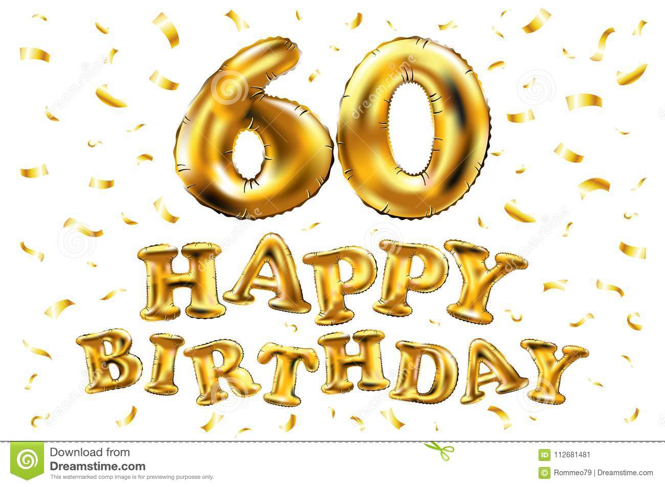 vector happy birthday 60th celebration gold balloons and golden confetti glitters  3d
