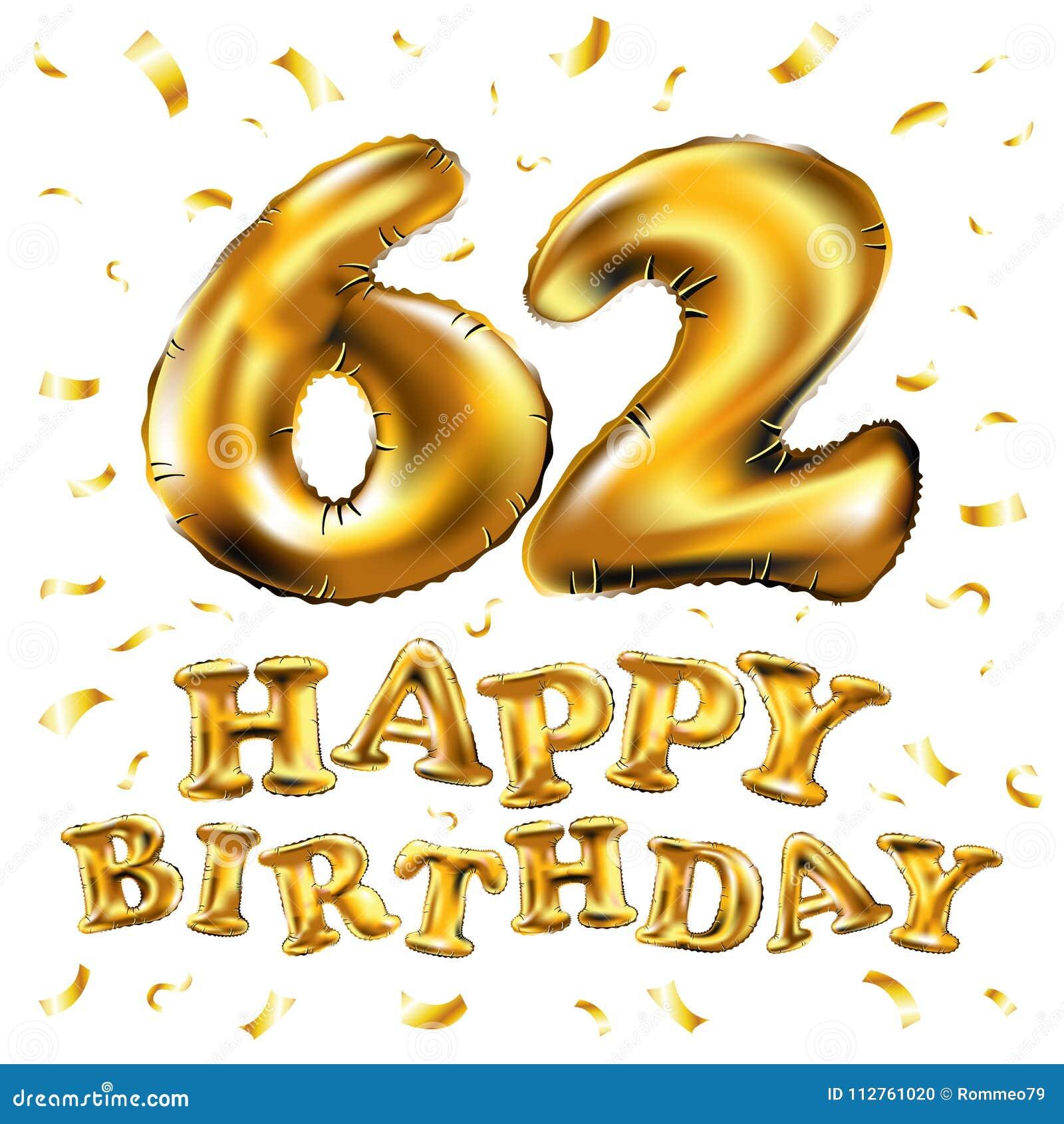 Vector happy birthday 62th celebration gold balloons and golden download vector happy birthday 62th celebration gold balloons and golden confetti glitters 3d illustration design m4hsunfo
