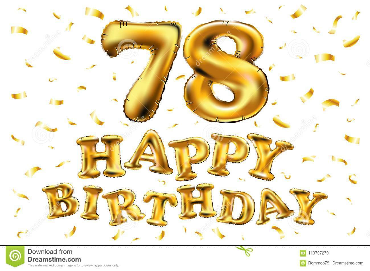 Vector Happy Birthday 78th Celebration Gold Balloons And Golden