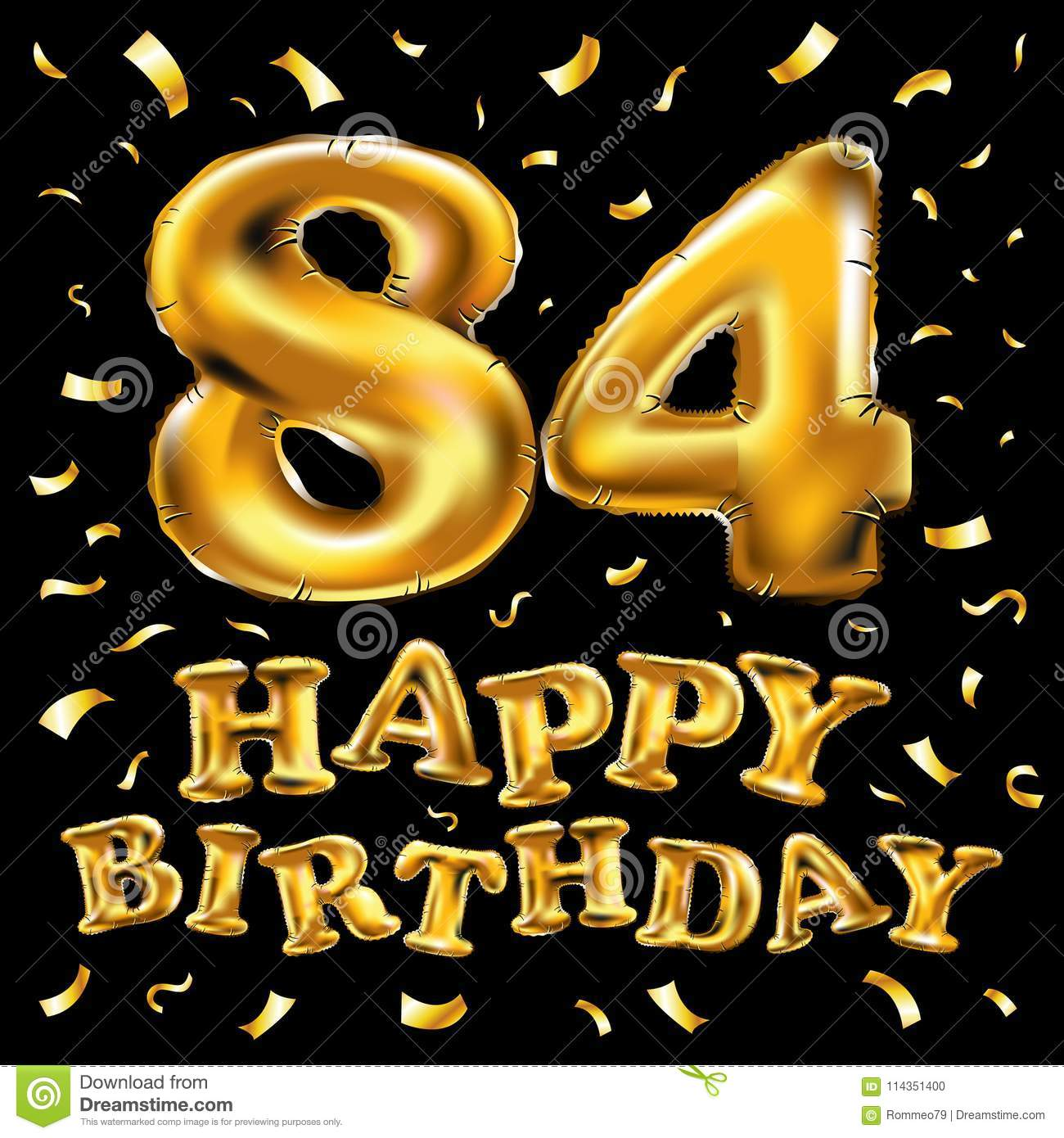 Vector Happy Birthday 84th Celebration Gold Balloons And