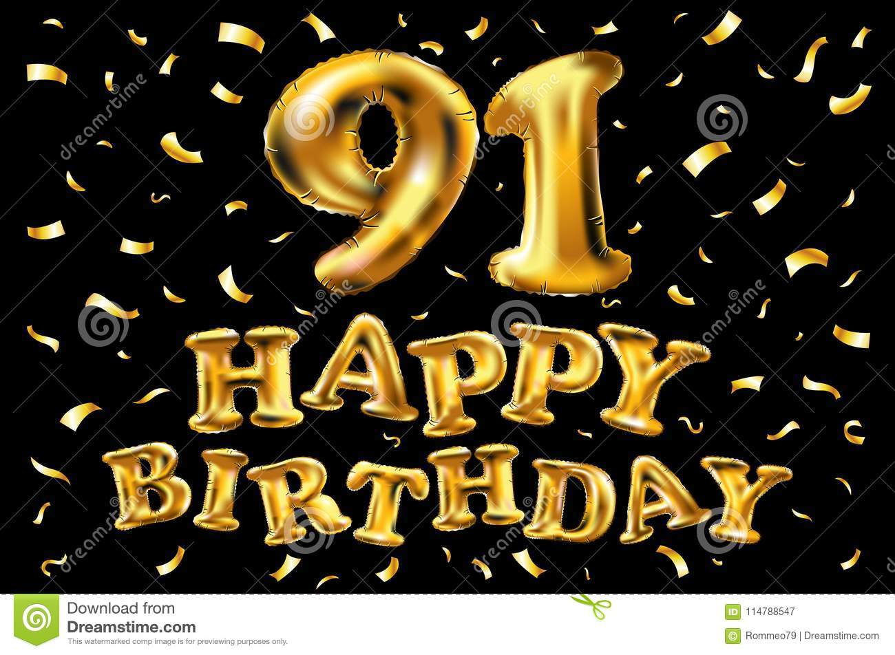 Vector Happy Birthday 91th Celebration Gold Balloons And Golden