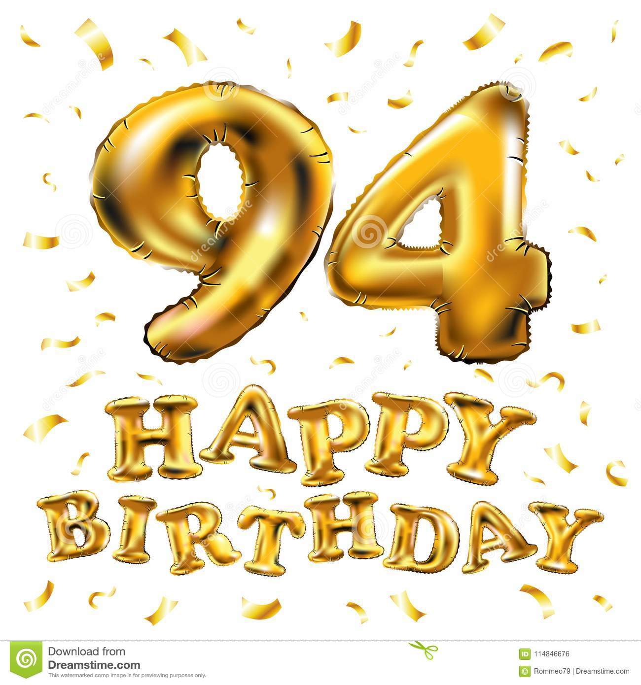 Vector Happy Birthday 94th Celebration Gold Balloons And Golden Confetti Glitters 3d Illustration Design For