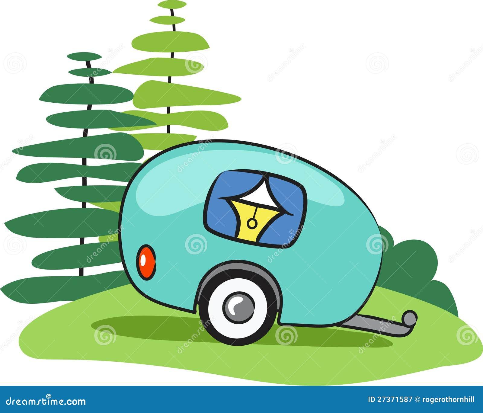 Vector Happy Camper Trailor Cartoon Illustration Of Stock