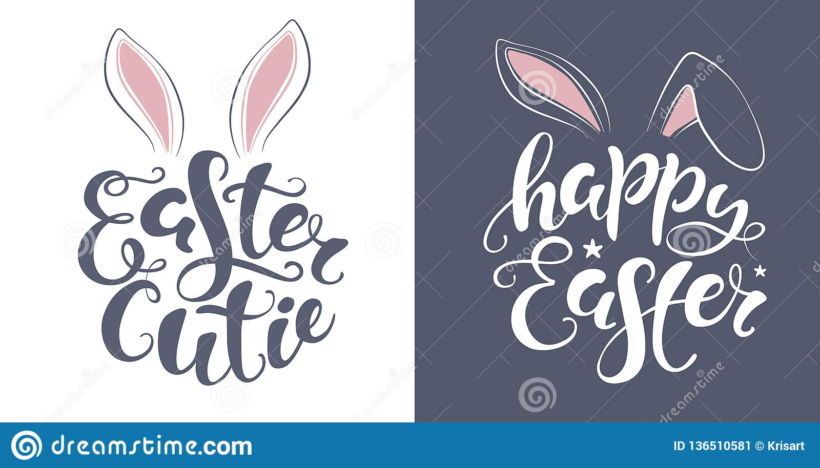 graphic about Happy Easter Printable referred to as Vector Joyful Easter Bunny Lettering Card. Quotation Toward Style and design