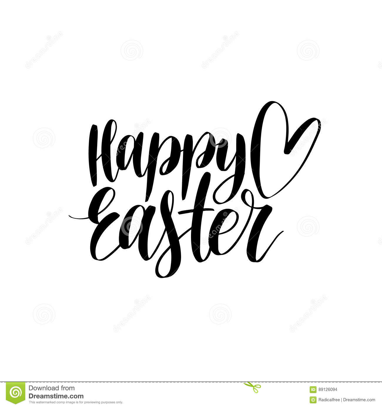 Vector Happy Easter Calligraphy On White Background Religious