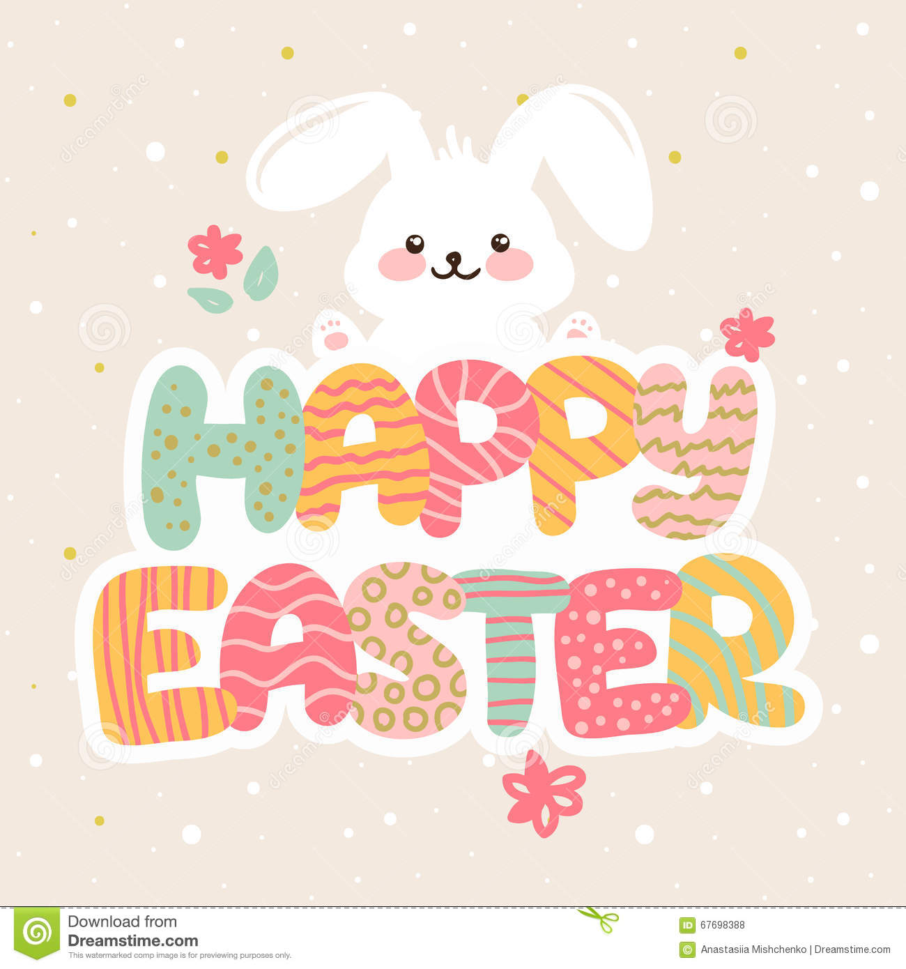 Vector happy easter greeting card design with funny cartoon letters vector happy easter greeting card design with funny cartoon letters and bunny kristyandbryce Choice Image