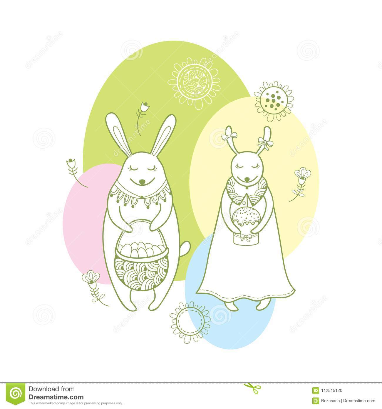 Vector happy easter greeting card with outline rabbit couple and download vector happy easter greeting card with outline rabbit couple and traditional easter symbol in pastel m4hsunfo