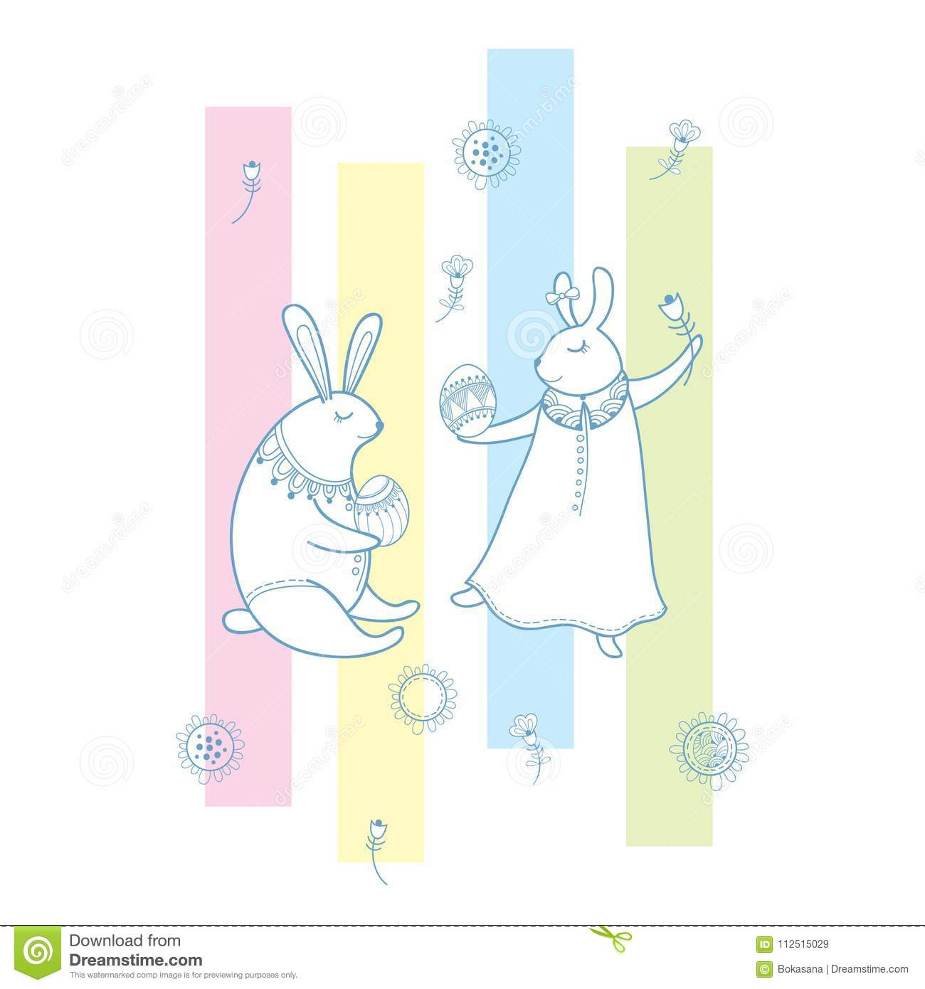 Vector happy easter greeting with outline rabbit couple traditional vector happy easter greeting with outline rabbit couple traditional easter symbol and stripes in pastel color isolated on white m4hsunfo Images