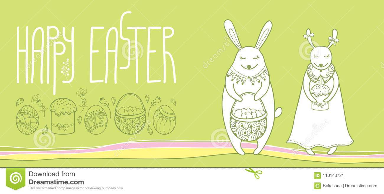 Vector happy easter horizontal greeting card with outline easter download comp m4hsunfo