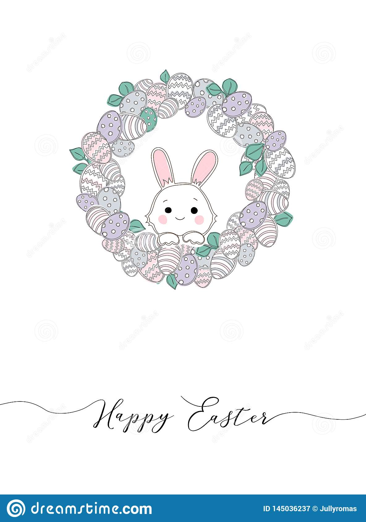 Vector Happy Easter templates with eggs, wreaths, rabbit and typographic design.