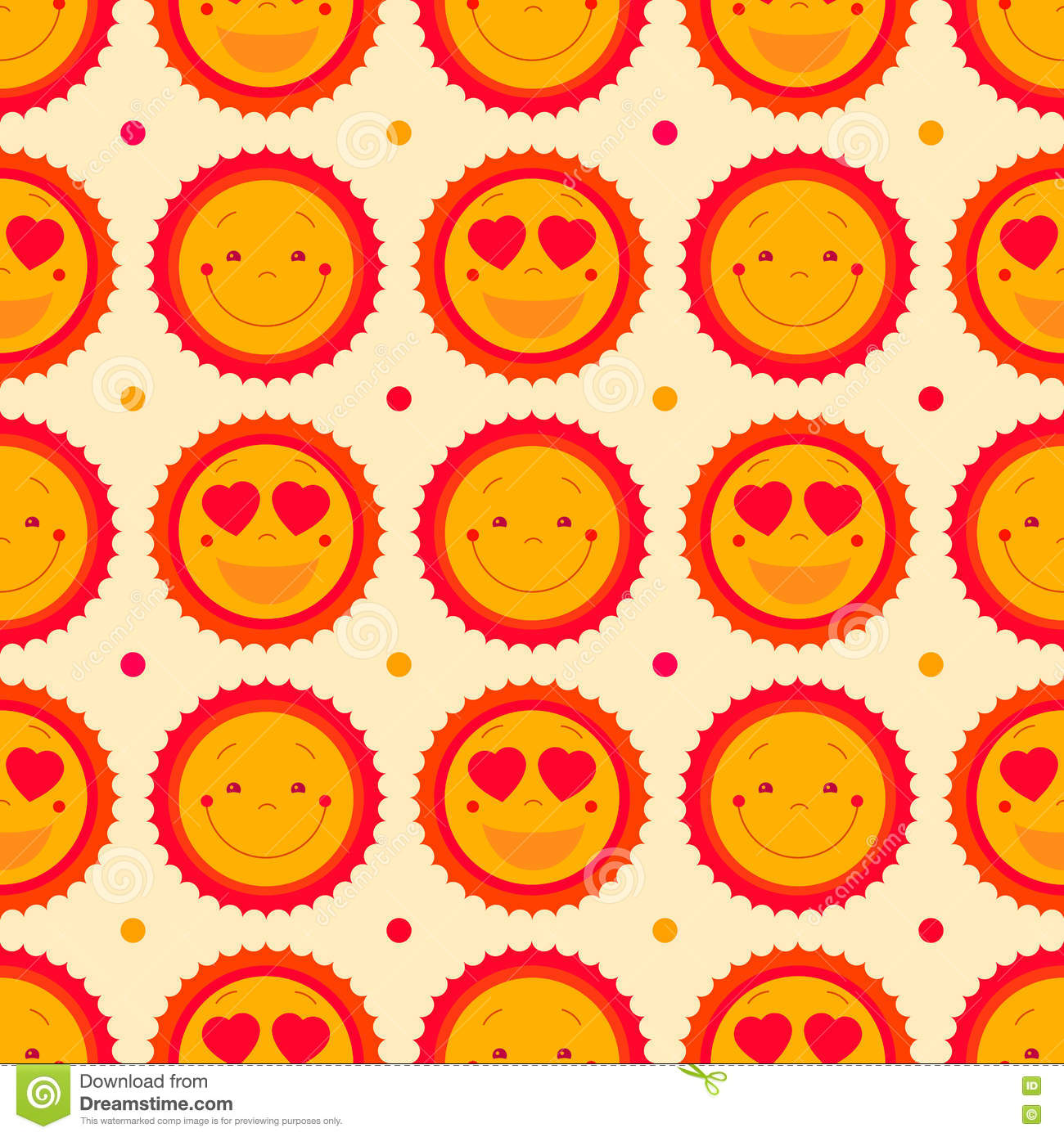 Vector happy emoticons seamless pattern background with suns. Summer fun background, repeating pattern design. Cute sun icons set