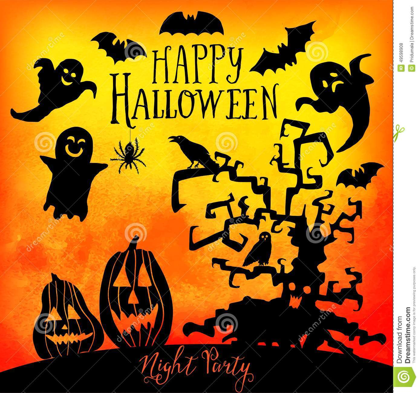 Vector happy halloween greeting card doodles element for vector happy halloween greeting card doodles element for halloween design set of halloween silhouettes on watercolor backgroun kristyandbryce Images