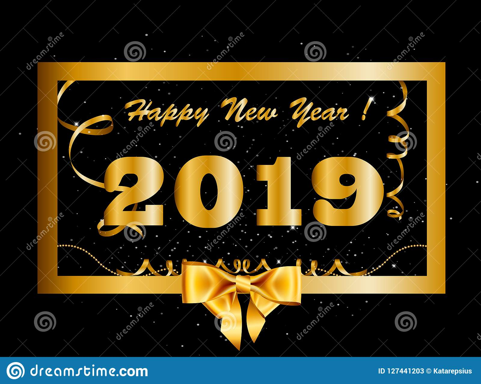 vector 2019 happy new year background with golden gift bow inside of gold border