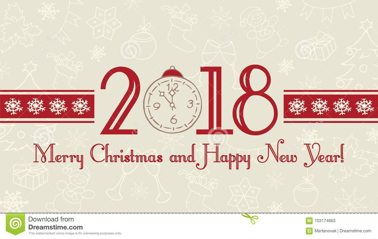 Vector 2018 Happy New Year Background. Merry Christmas And Happy ...