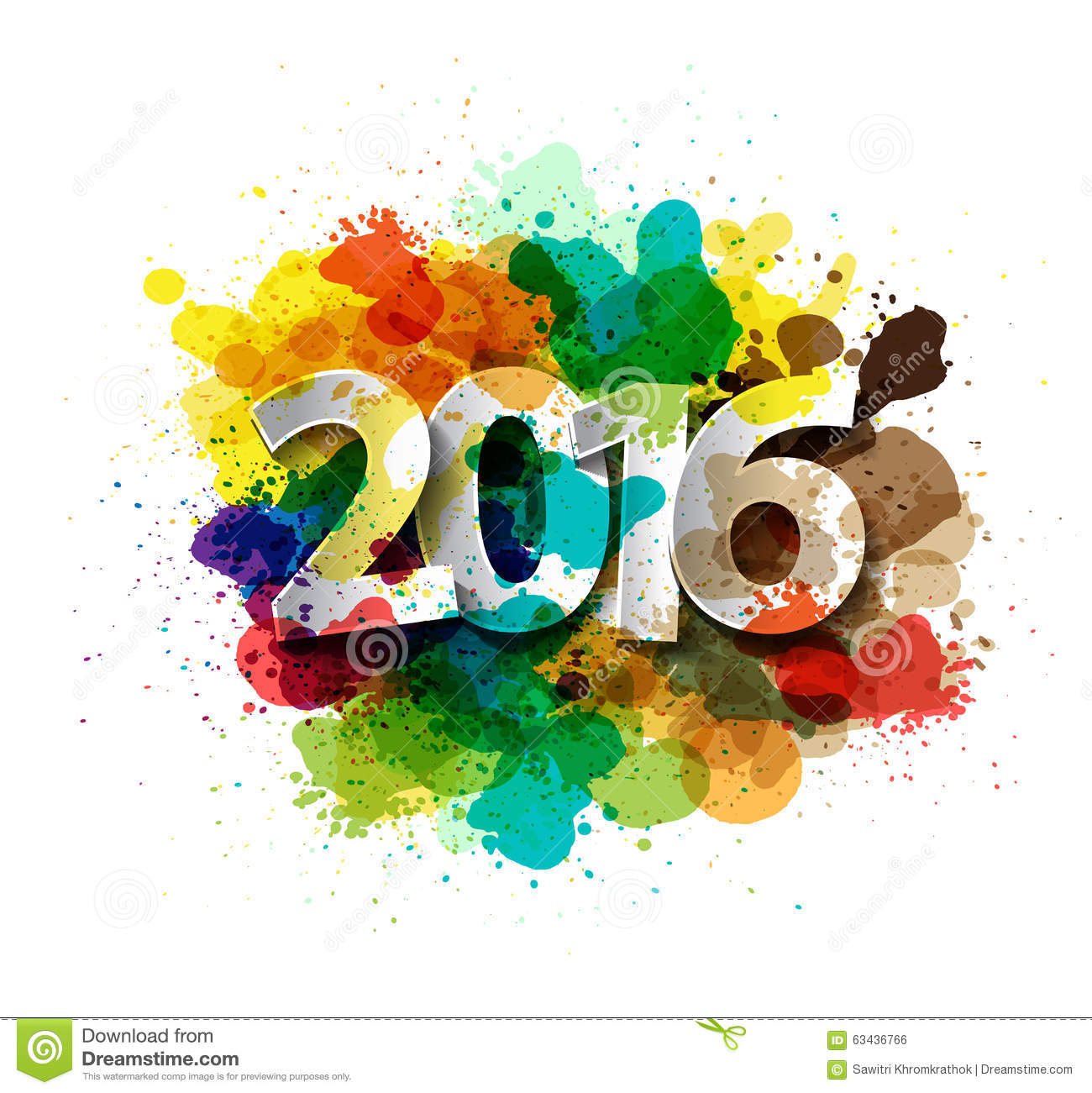 Vector happy new year celebration 2016 with colorful spray for Happy color spray paint price