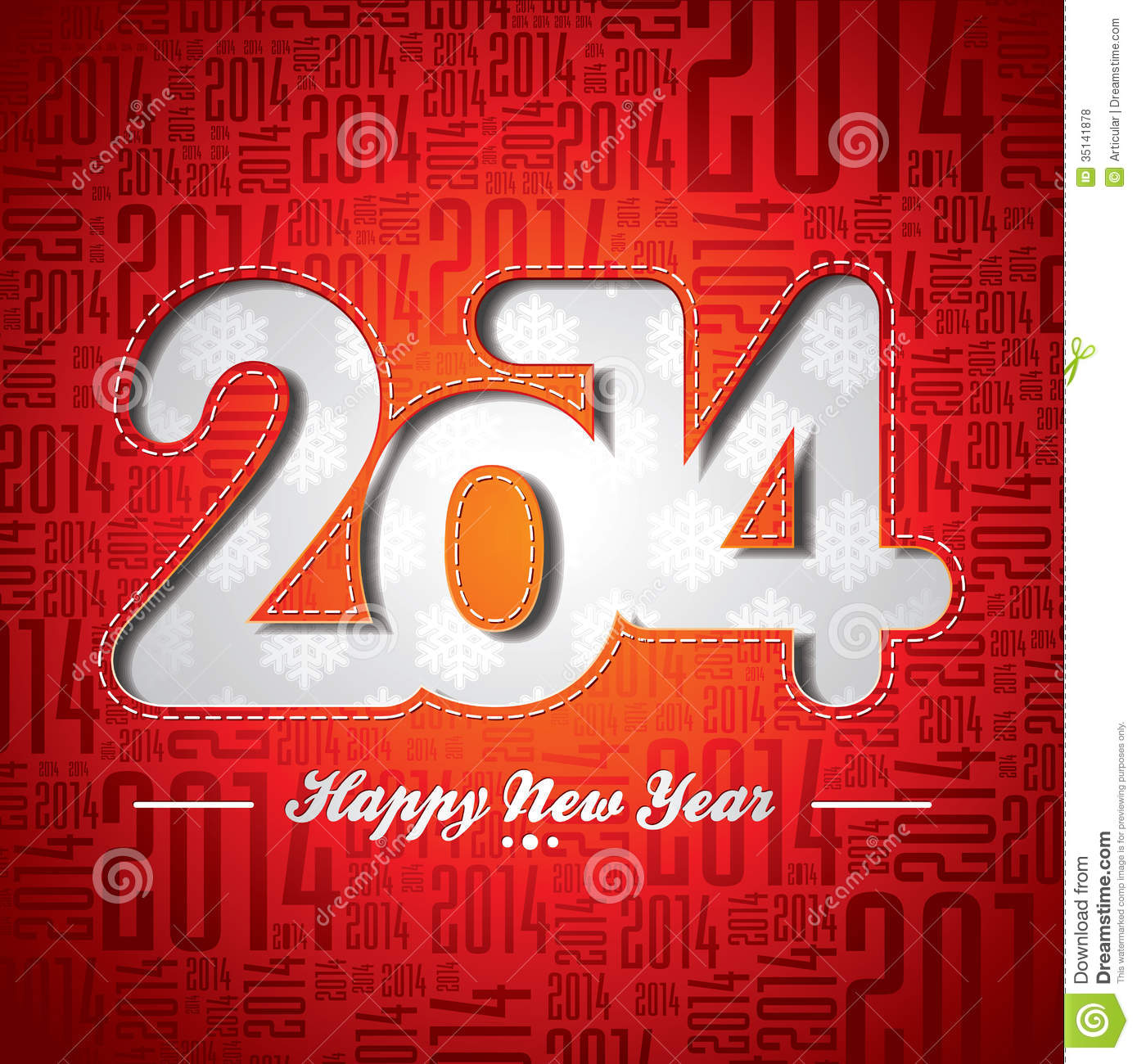 Vector Happy New Year 2014 celebration design on a typographic background