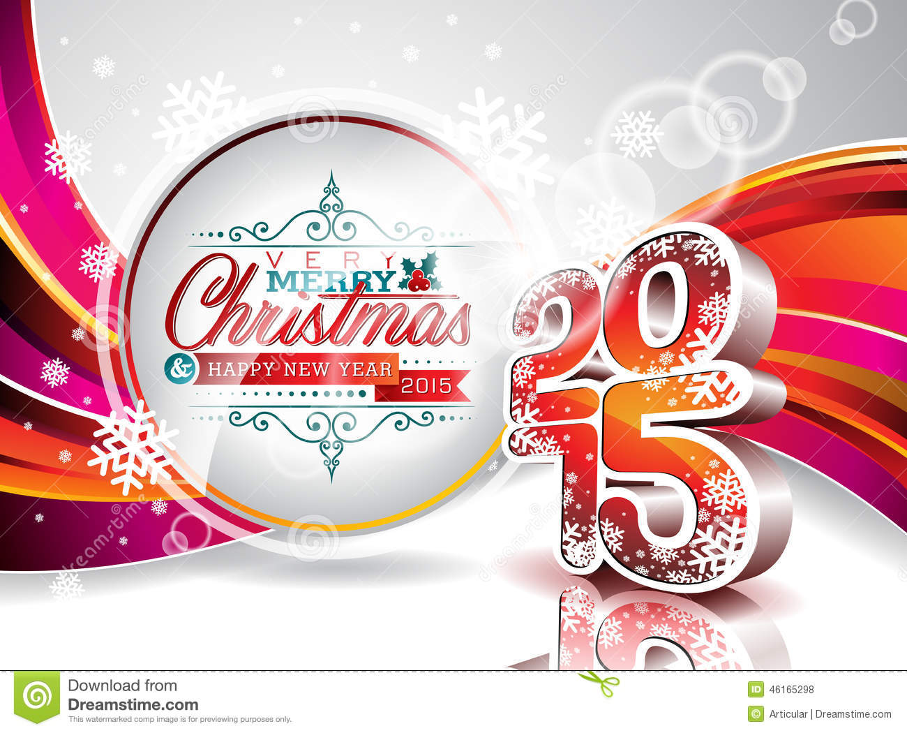 vector happy new year 2015 colorful celebration background