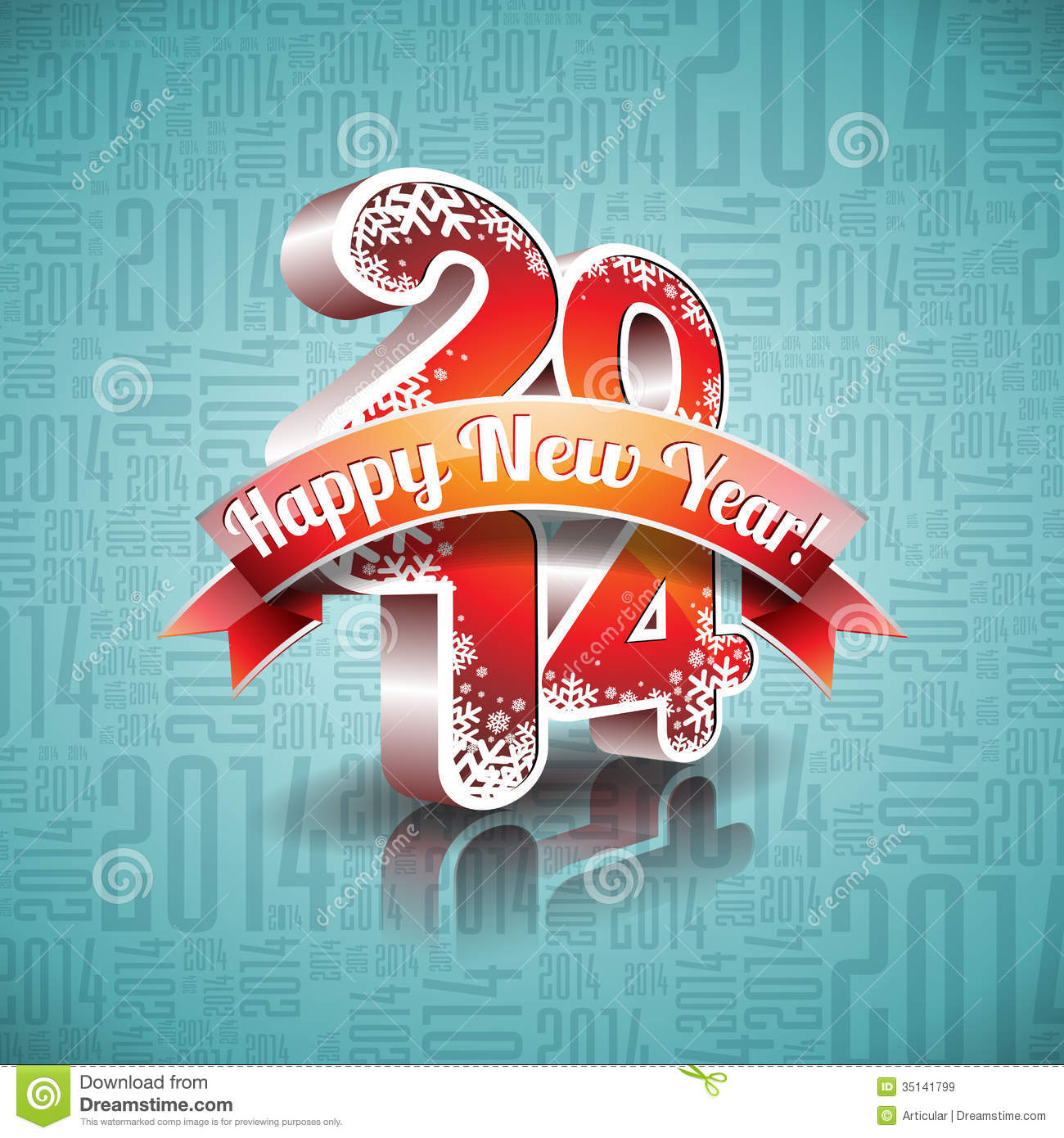 vector happy new year 2014 design with ribbon on typographic background