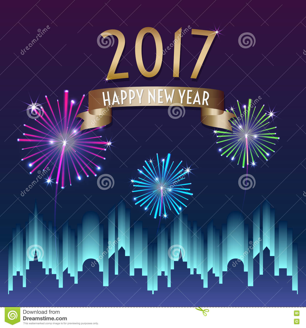 Vector Of 2017 Happy New Year With Gold Ribbon With ...