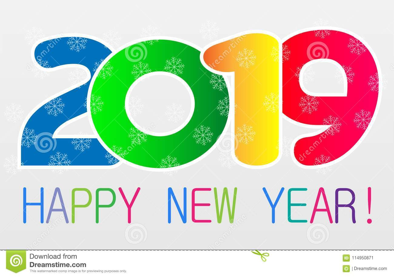 happy new year 2019 card and greeting text design