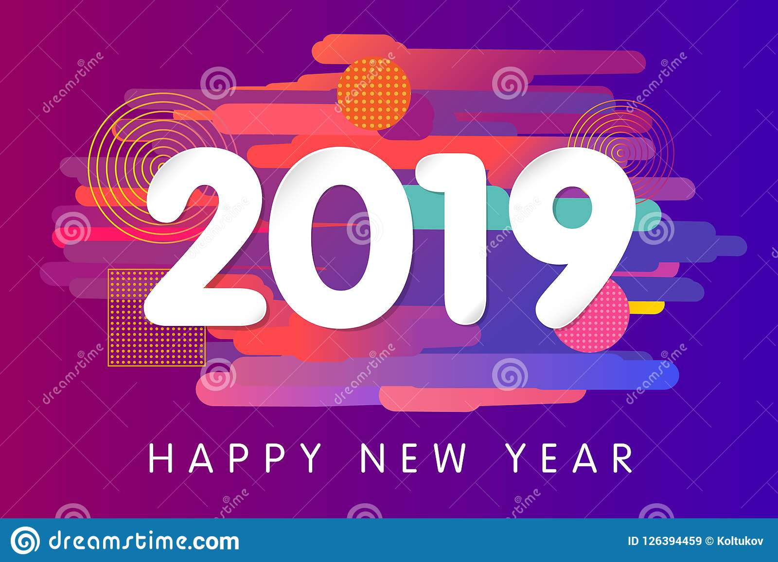 2019 Happy New Year Card Design Stock Vector Illustration Of Card Minimal 126394459