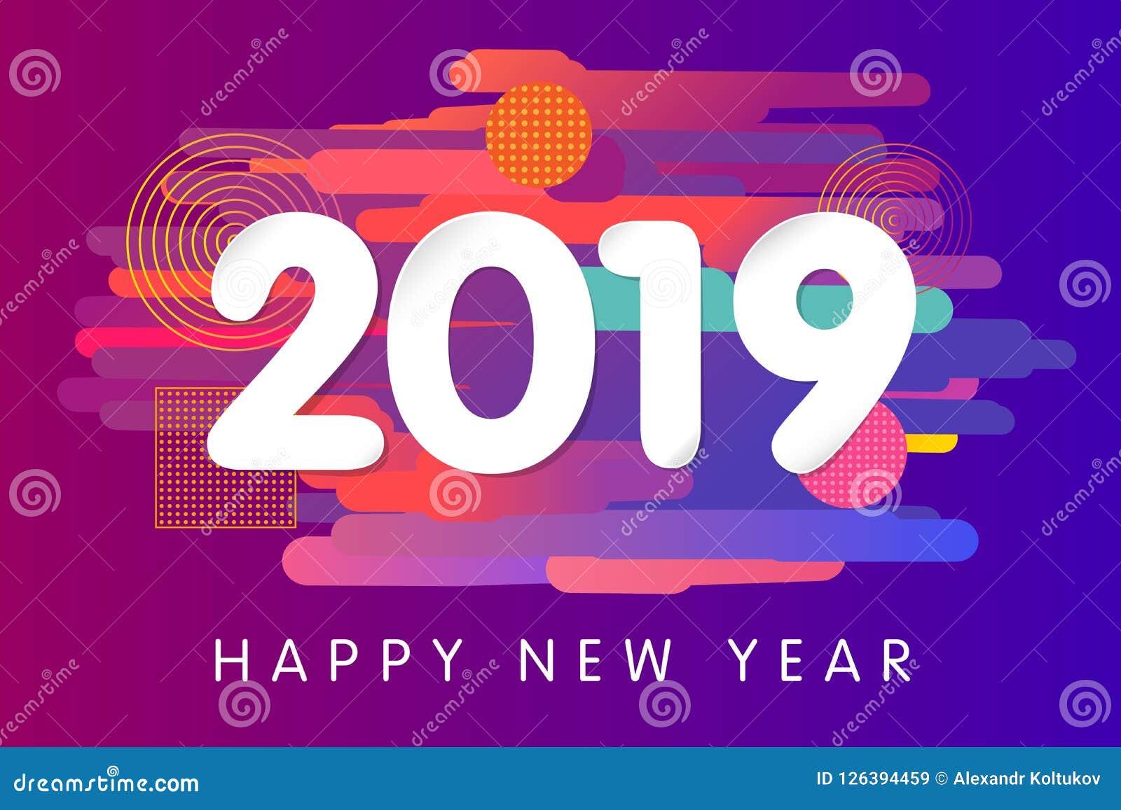 2019 Happy New Year Card Design Stock Vector ...