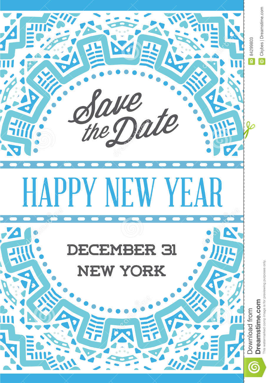 vector happy new year or merry christmas theme save the date inv