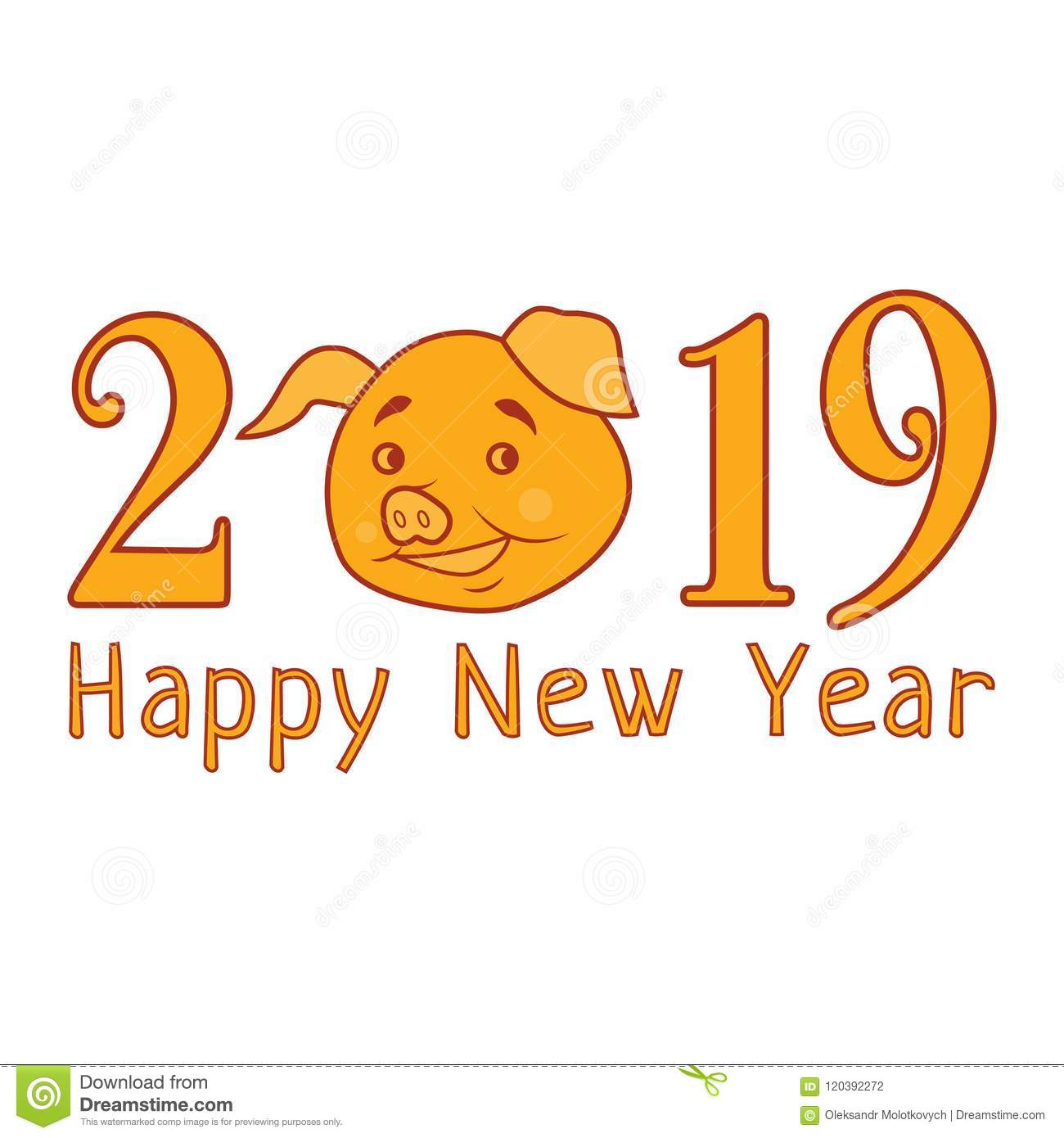 Vector 2019 Happy New Year Text With Funny Pig. Chinese Symbol Of ...