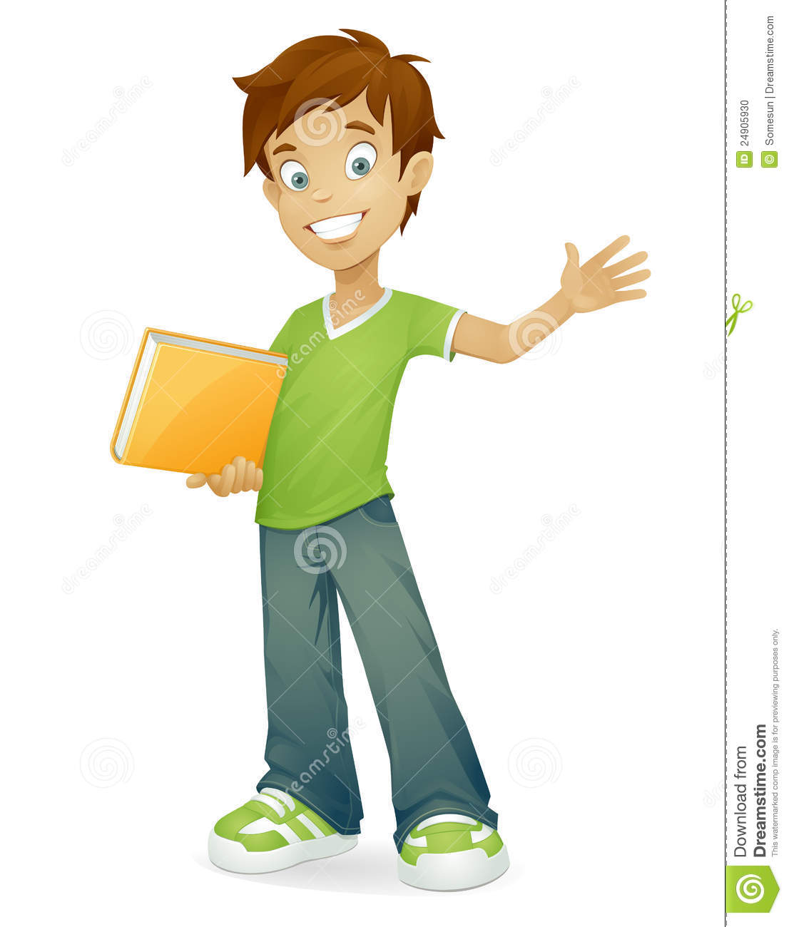 Young Happy Boy With Brown Wet Hair Is Smiling And: Vector Happy School Boy Smiling Waving Stock Photo