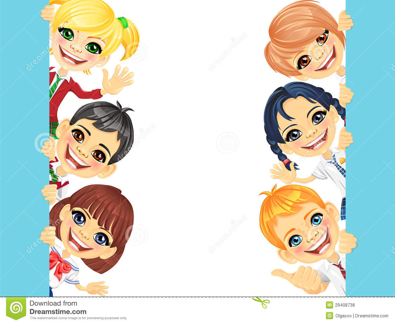 Vector Happy Smile Kids And Banner Royalty Free Stock Photos - Image ...
