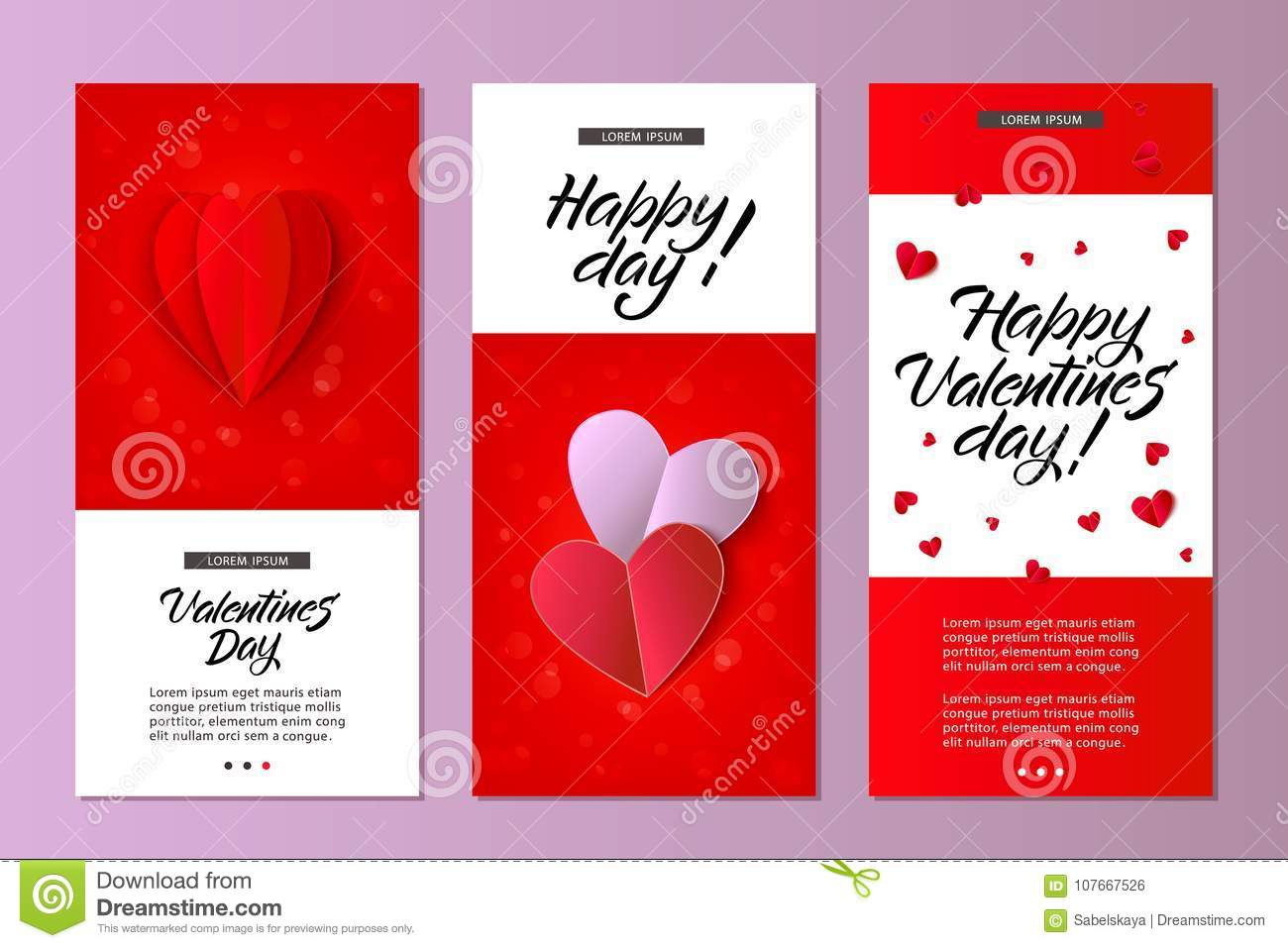 Vector Happy Valentines Day Card Template Set Stock Vector