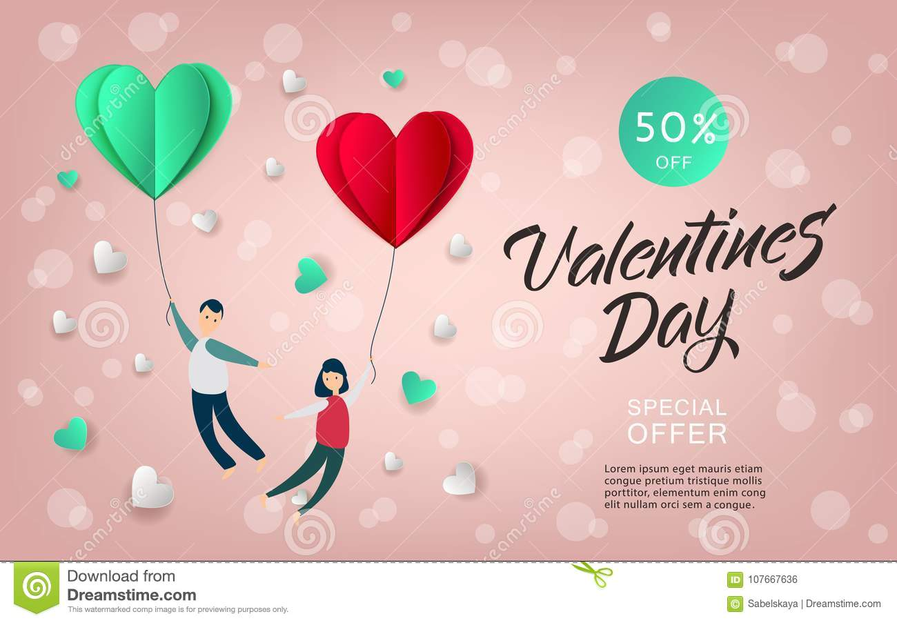 Vector Happy Valentines Day Paper Heart Couple Stock Vector