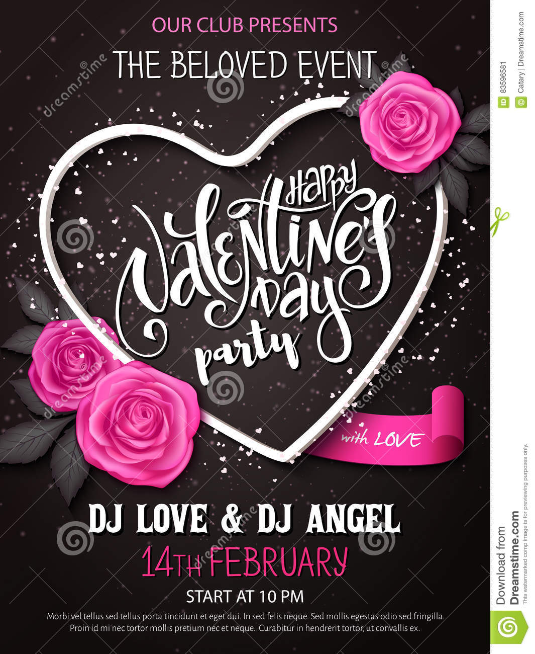 Vector Happy Valentines Day Party Poster With Lettering Rose Buds