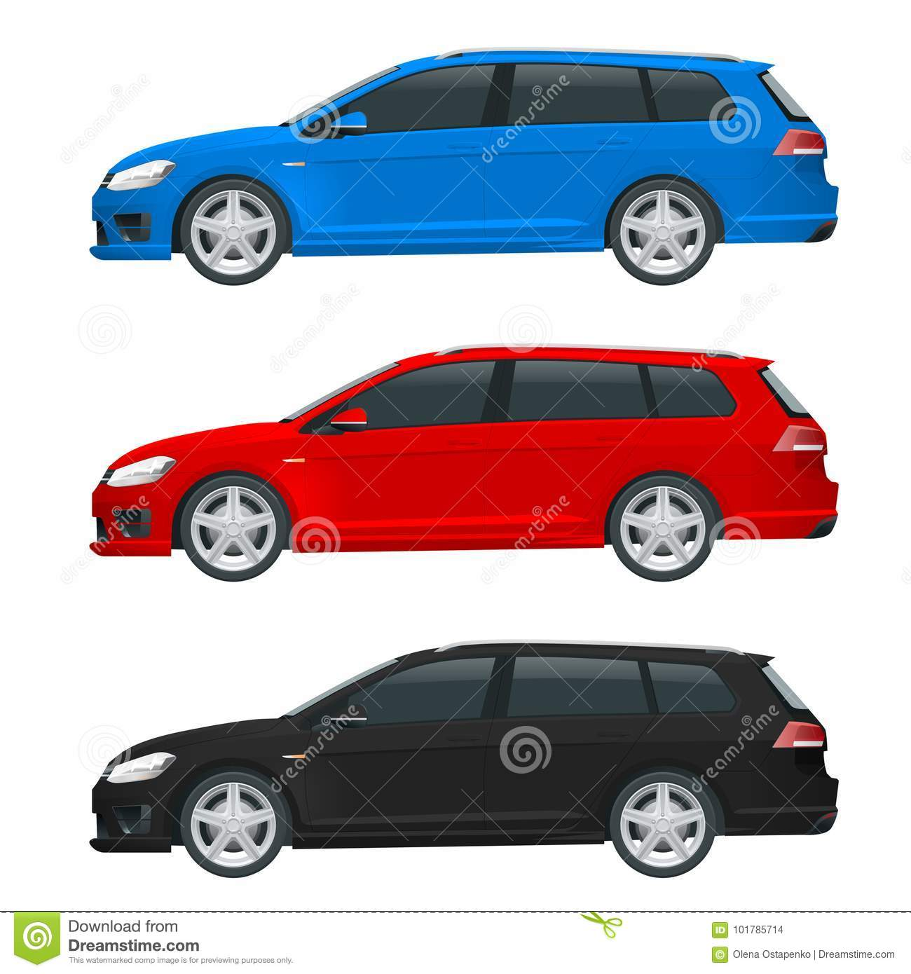 Small Hatchback Turbo Cars: Vector Hatchback Car. Compact Hybrid Vehicle Stock Vector
