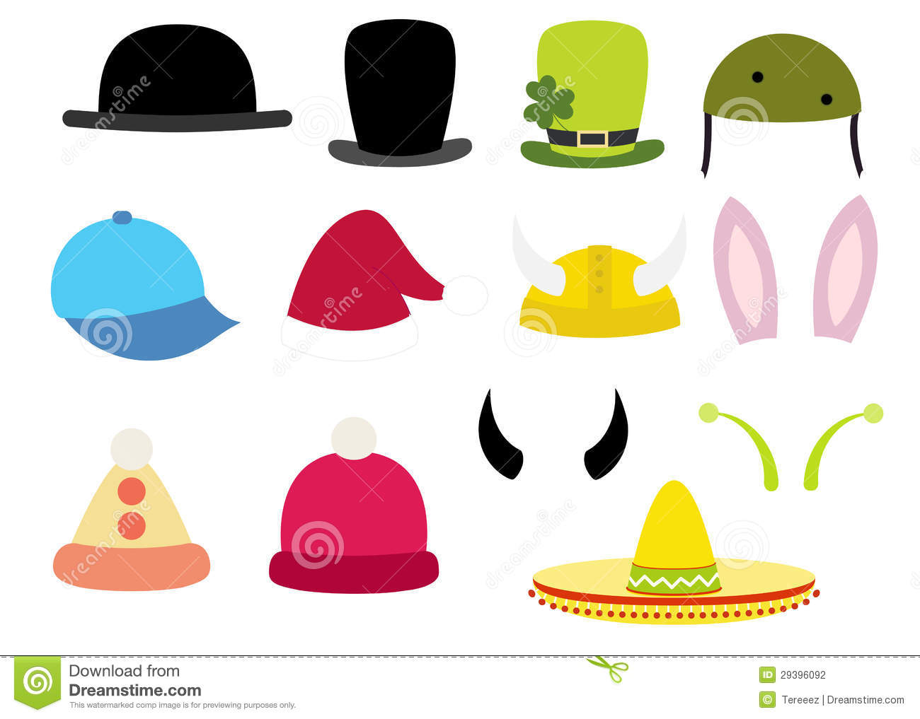 Vector Hats Stock Vector Illustration Of Pink Blue 29396092
