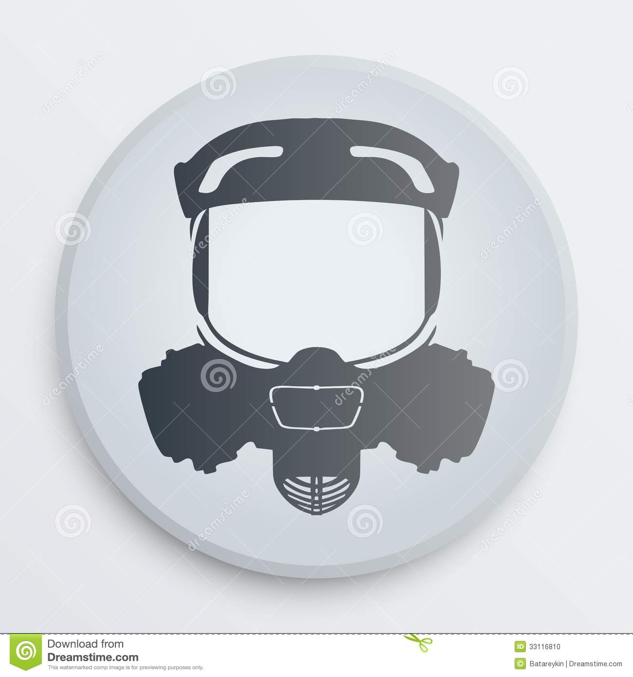 Toxic Symbol Black And White Vector Head Gas Mask S...