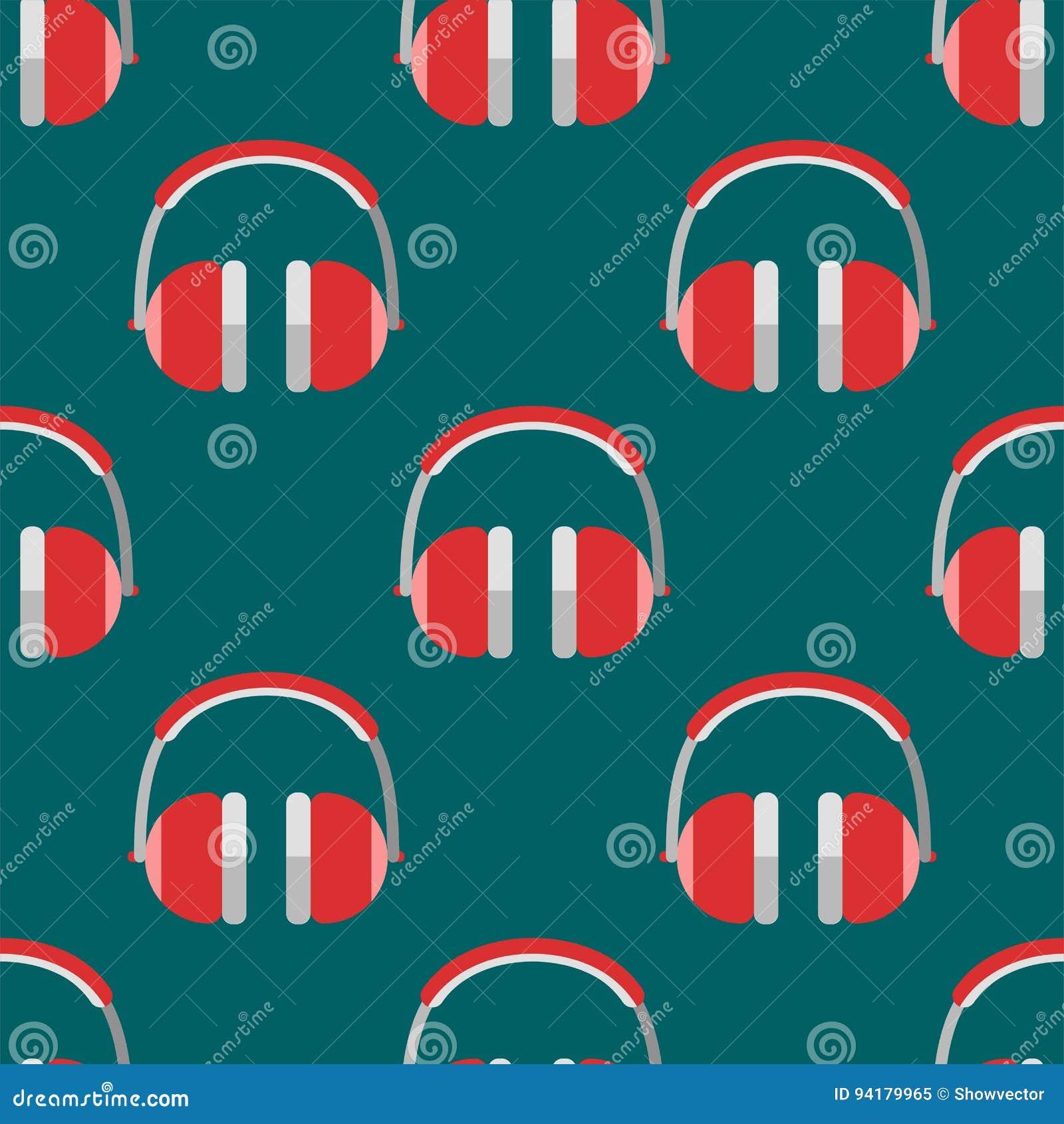 Vector Headphones Background Hip Hop Seamless Pattern Musician