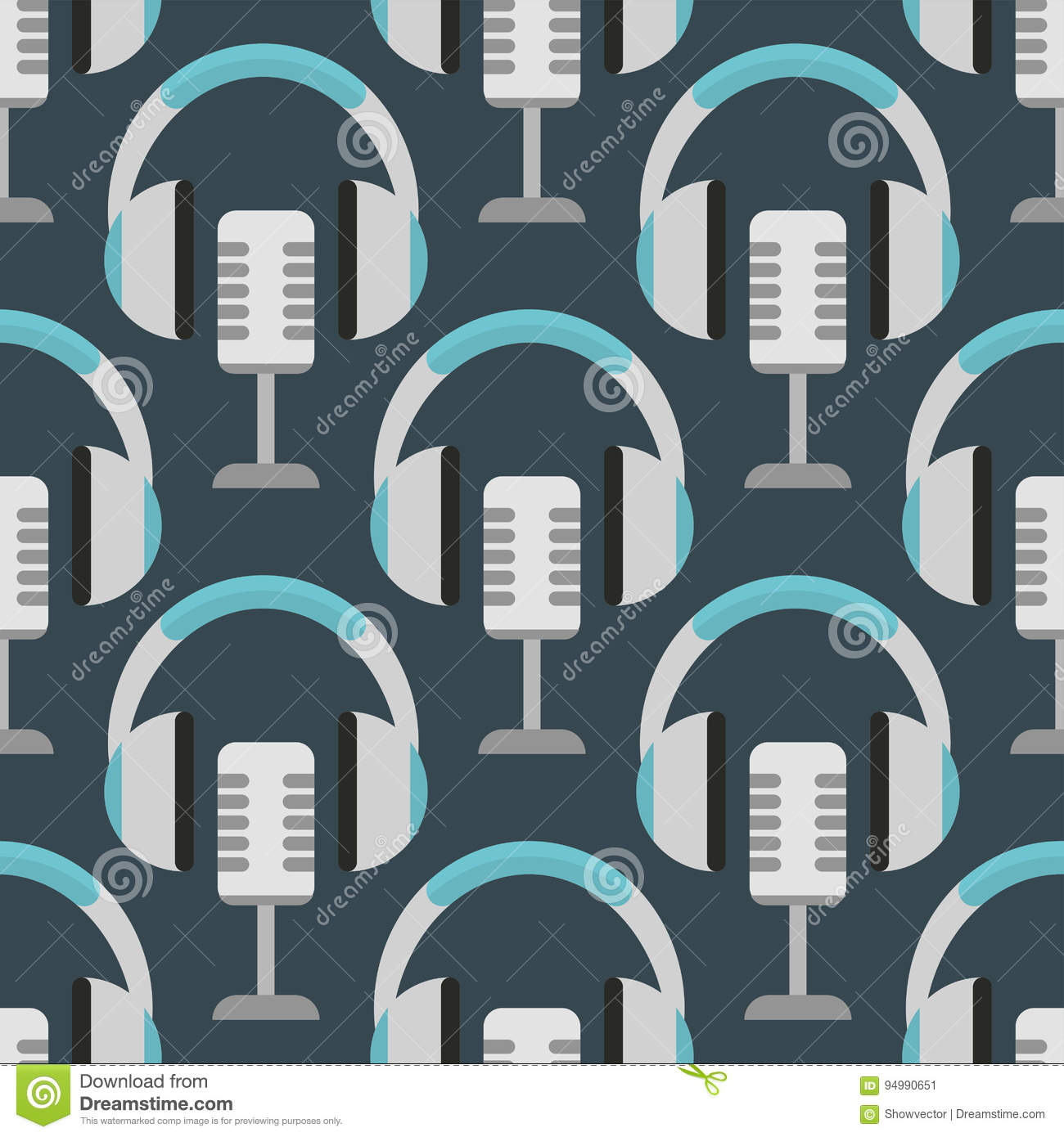 Download Vector Headphones Background Hip Hop Seamless Pattern Musician Expressive Rap Music Instrument Stock