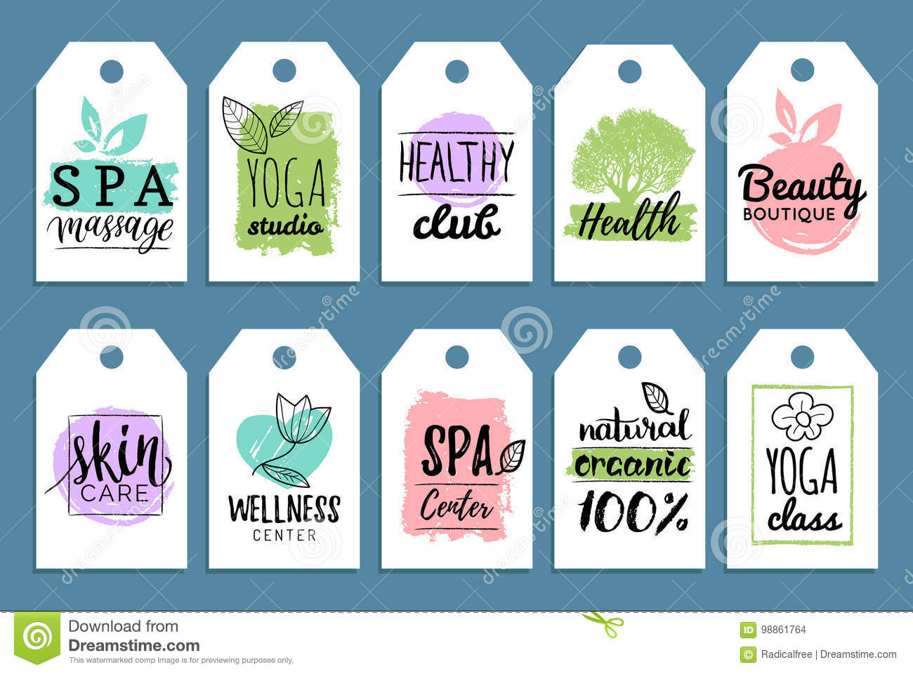 Vector health and beauty care labels. Spa, yoga centers tags. Wellness labels. Hand drawn stickers and elements set.