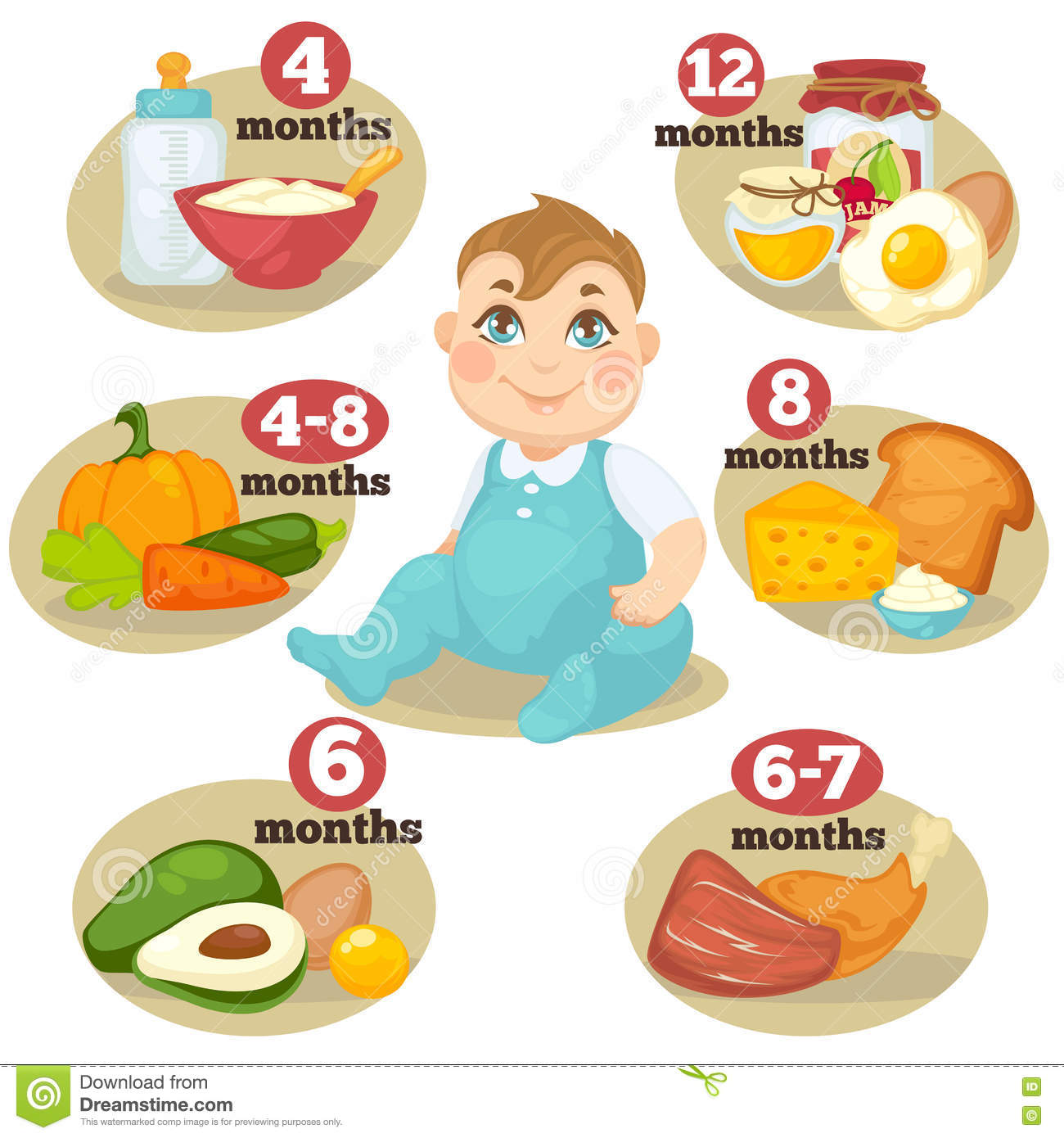 Vector Healthy Food For Babies Stock Vector - Illustration ...