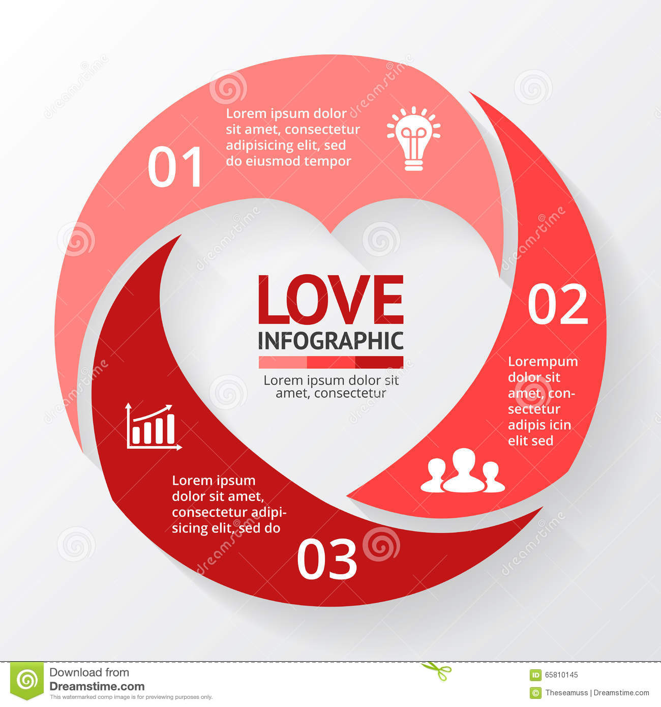 Vector Heart Circle Infographic  Template For Love Cycle