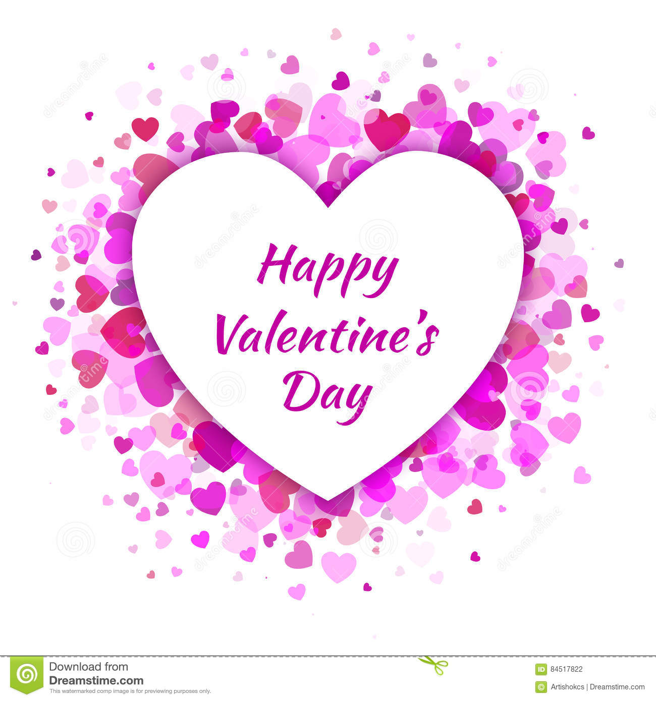 Vector Heart With Light Pink Hearts Valentines Day Card Background
