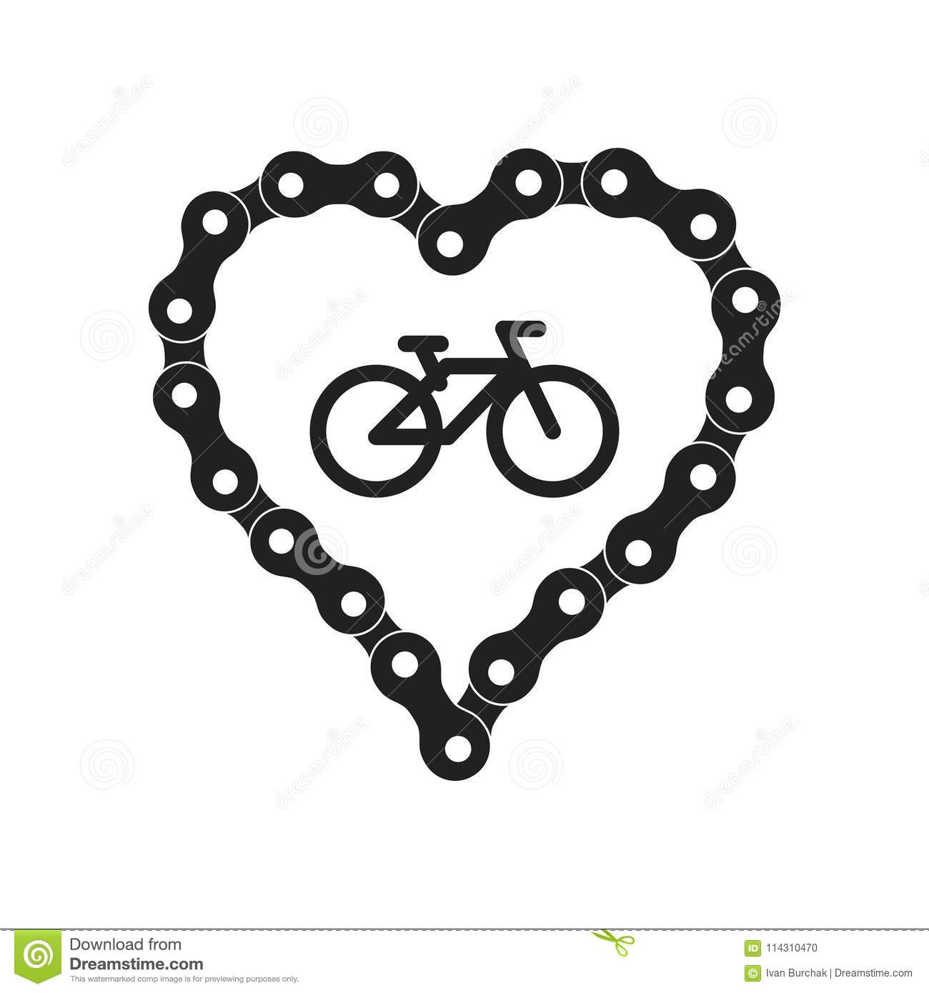 Vector Heart Made of Bike or Bicycle Chain. Black Heart Silhouette Background plus Bicycle Sample Icon
