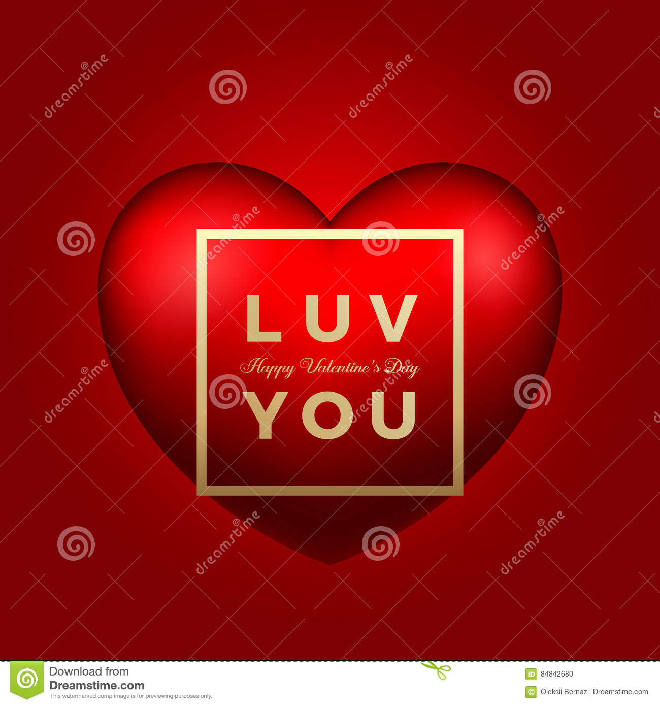 Vector Heart On Pink Background Love You Valentines Day Greetings