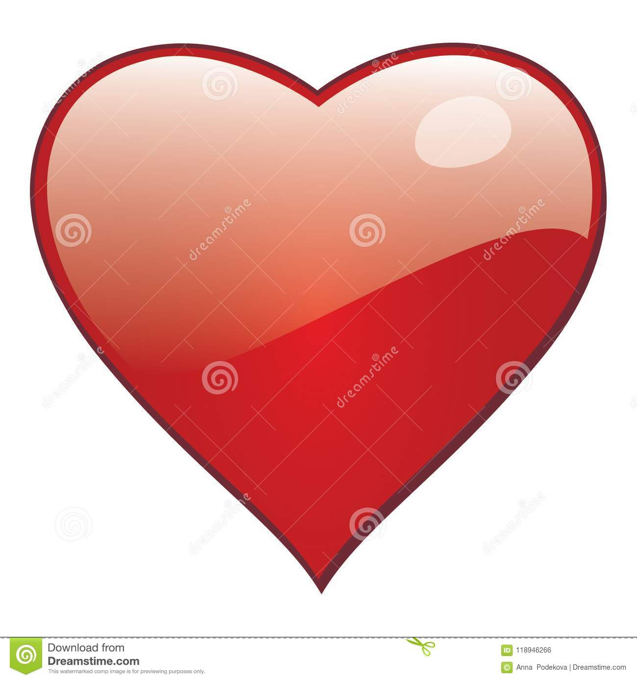 Vector heart for saint Valentine greeting cards and romantic love.