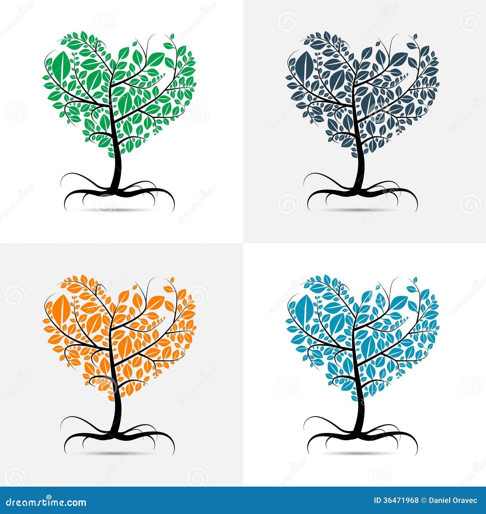 Vector Heart Shaped Tree Royalty Free Stock Photos Image