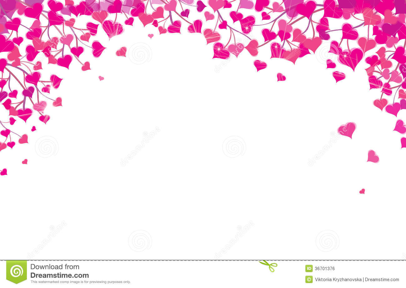 Vector Hearts Border For Valentines Day Design. Royalty Free Stock ...