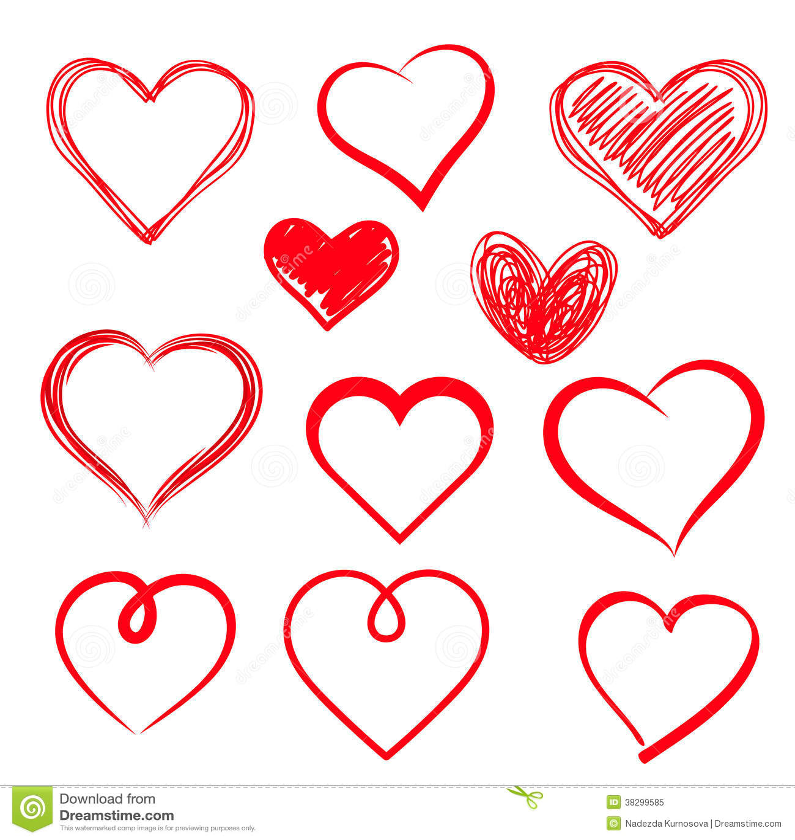 vector hearts set hand drawn royalty free stock photo image